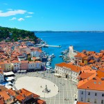 Piran is a resort city on Slovenia's Adriatic coast, known for its long pier and Venetian architecture.
