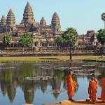 Angkor Wat is a temple complex in Cambodia and one of the largest religious monuments in the world.