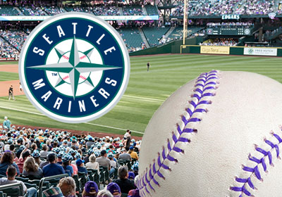 Baseball field with baseball and Seattle Mariners logo