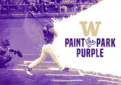 Purple and gold stylized photo of baseball batter beginning to run