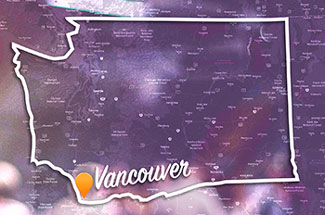Washington map with Vancouver highlighted