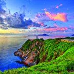 Beautiful Newport lighthouse at sunset