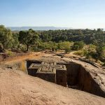 The Church of Saint George is one of eleven rock-hewn monolithic churches in Lalibela, a city in the Amhara Region of Ethiopia.