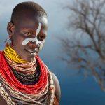 Ethiopian person in colorful adornment