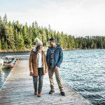 Columbia Sportwear two people on a lake dock