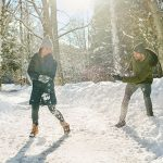 Columbia Sportwear two people throwing snowballs