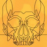 Line image of a skull on a yellow background