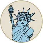 Cartoon image of statue of liberty