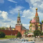 Views of the Kremlin and Saint Basil's Cathedral in Moscow, Russia