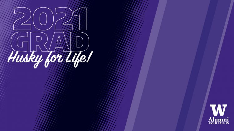 """Purple and black striped Zoom background with a UWAA logo and the words """"2021 GRAD Husky for Life!"""""""
