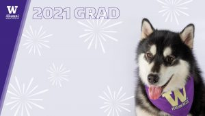 "Dubs II wearing a ""W"" bandana next to the words ""2021 GRAD"" and the UWAA logo"
