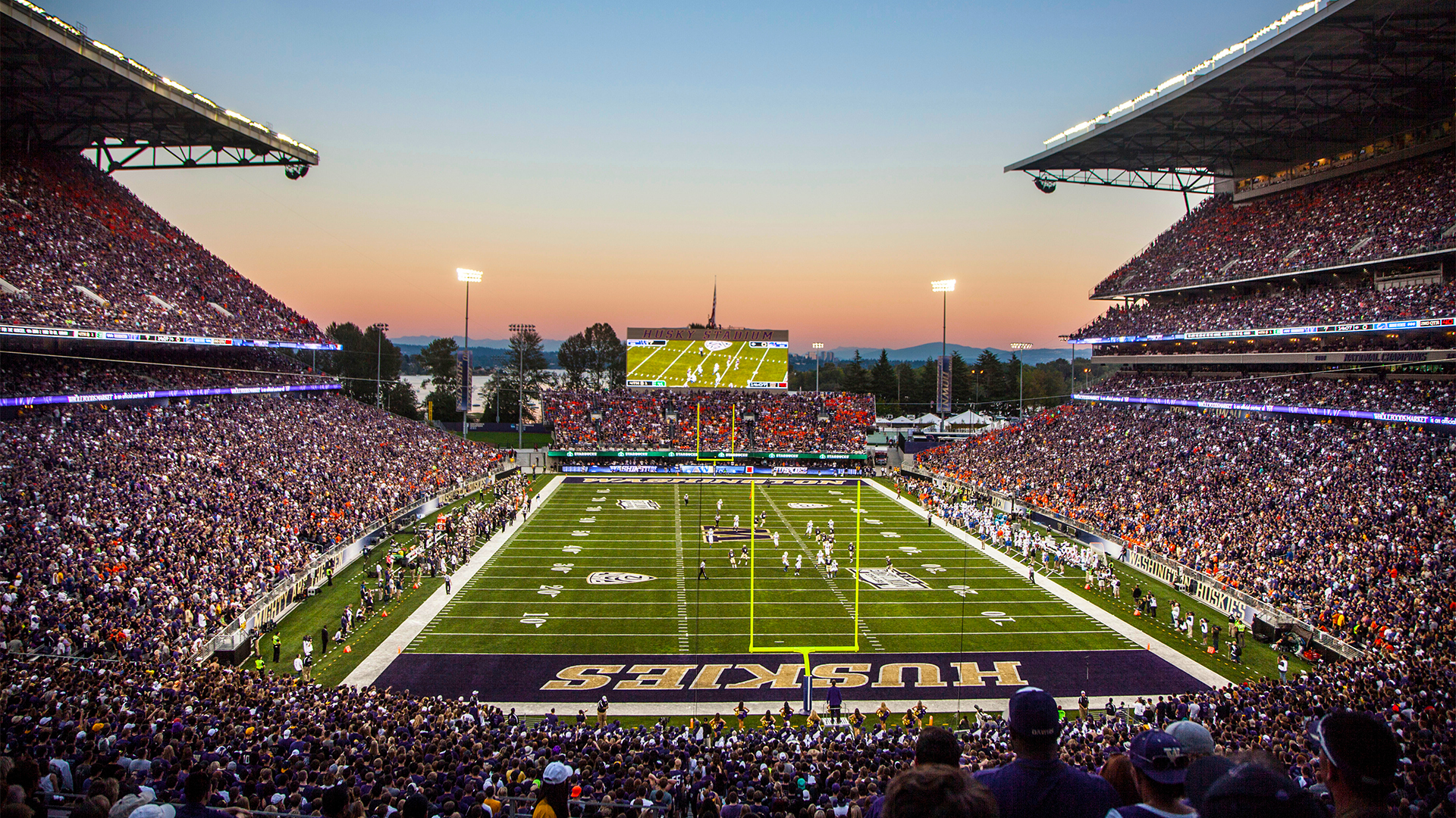 Husky Stadium at sunset