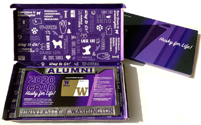 Box with UW license plate frame