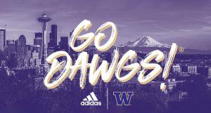 """Go Dawgs!"" over purple Seattle skyline with adidas and UW logos"