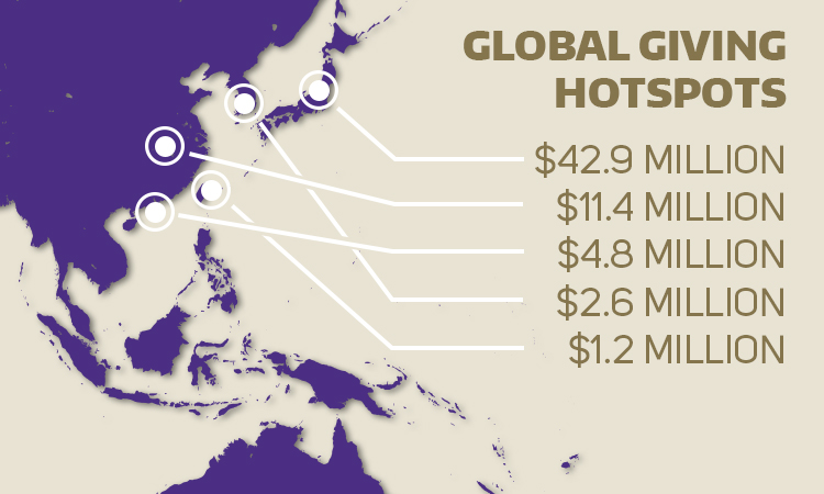 A map showing hotspots around the world for donations to the UW