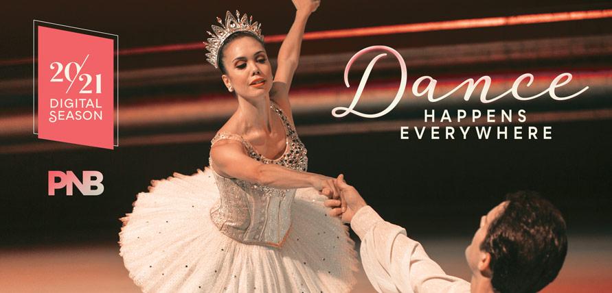PNB ballerina and ballerino, with digital season logo