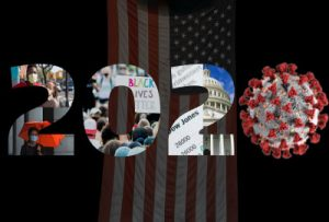 """""""2020"""" in photos over an American flag"""