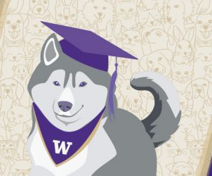 Illustrated husky wearing a mortarboard and a