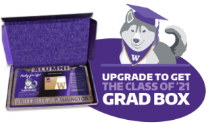 """Grad box with license plate and illustrated dog wearing grad cap and """"upgrade to get the class of '21 grad box text""""."""