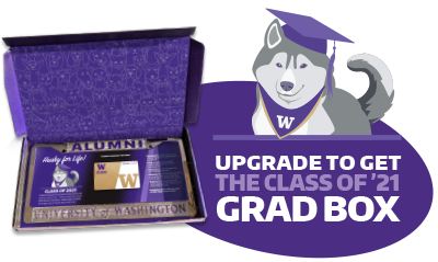Grad box with license plate and illustrated dog wearing grad cap and upgrade to get the class of '21 grad box text;.