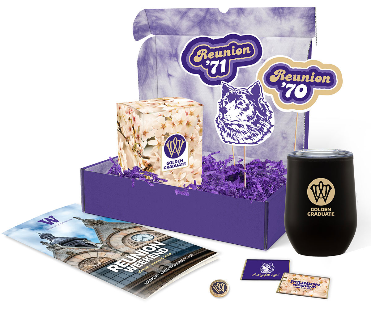 Purple tie-dye box with wine tumbler, chocolates, party props, pin and program.
