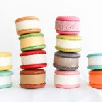 Four stacks of ice-cream-filled macaroons