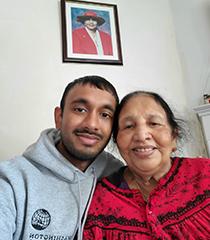 Portrait: Jeefchan Chandrasegar with a treasured family member