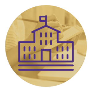 Purple icon of a school building on a gold background.