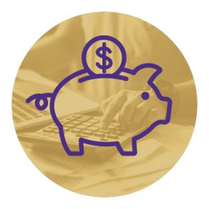 Purple icon of a piggy bank on a gold background.