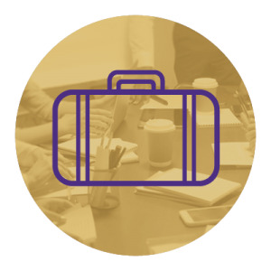 Purple icon of a briefcase on a gold background.