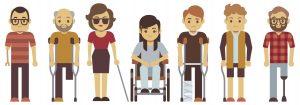 7 cartoon human figures with various disabiities