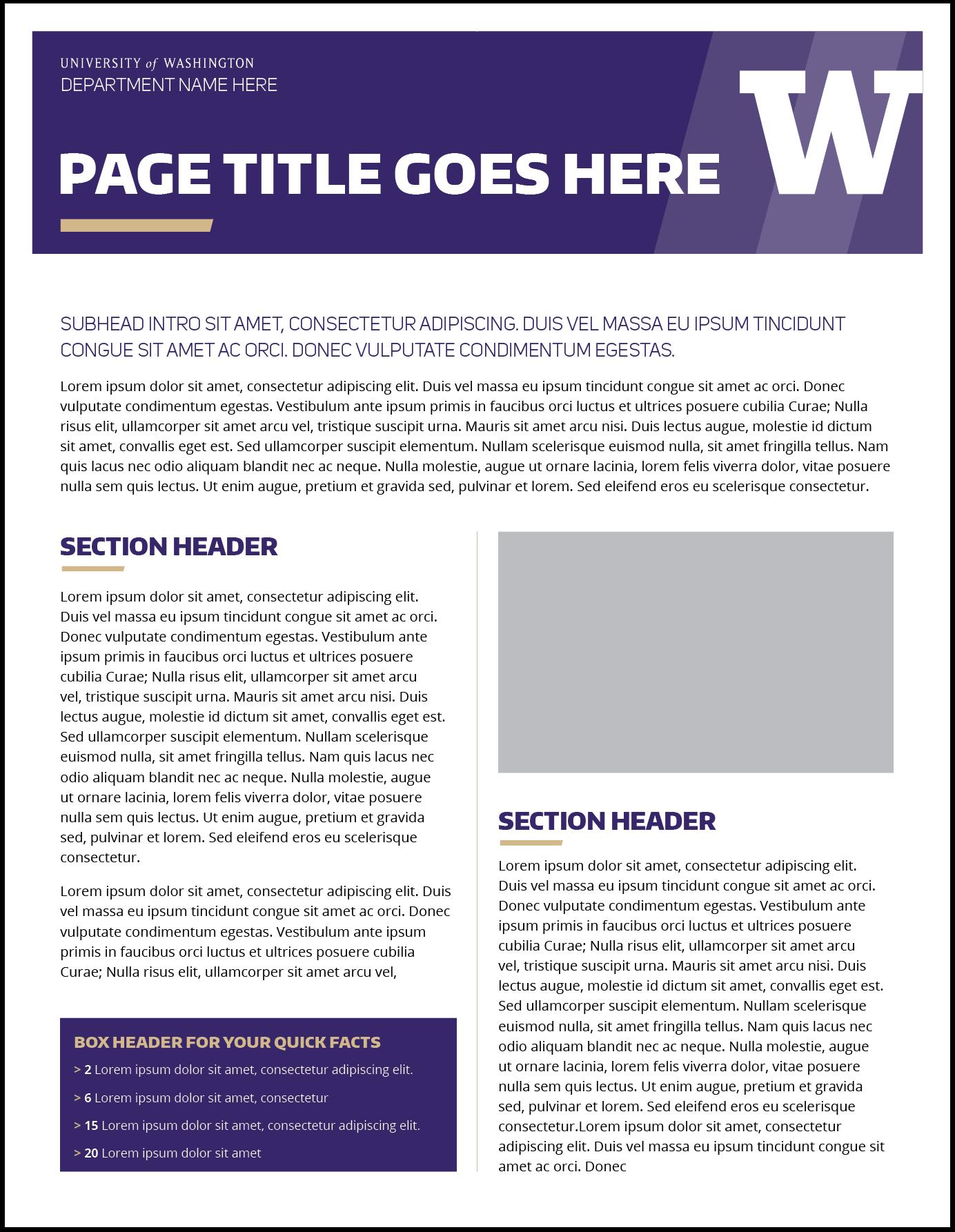 Fact Sheet Template | Fact Sheet Uw Brand