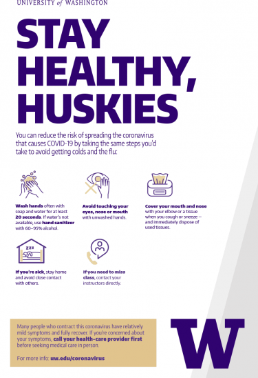 PDF poster Stay Healthy, Huskies