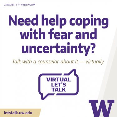 Graphic Let's Talk: Need help coping with fear and uncertainty (white)