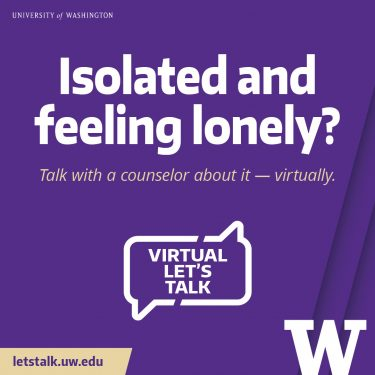 Graphic Let's Talk: Isolated and feeling lonely? 1080x1080 purple
