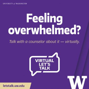 Graphic Let's Talk: Feeling overwhelmed? 1080x1080 purple