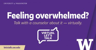 Let's Talk Graphic: Feeling overwhelmed? 1200x628 purple