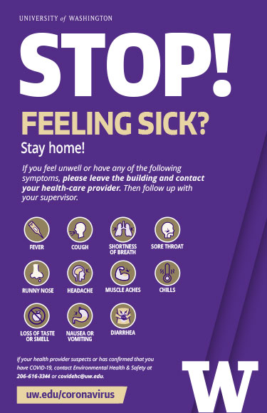 Stop! Feeling sick? Stay home. (poster graphic)