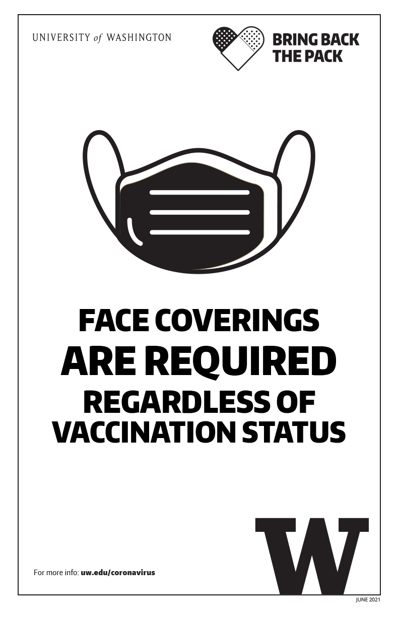 Image of 'Face coverings required regardless of vaccination status' black and white poster
