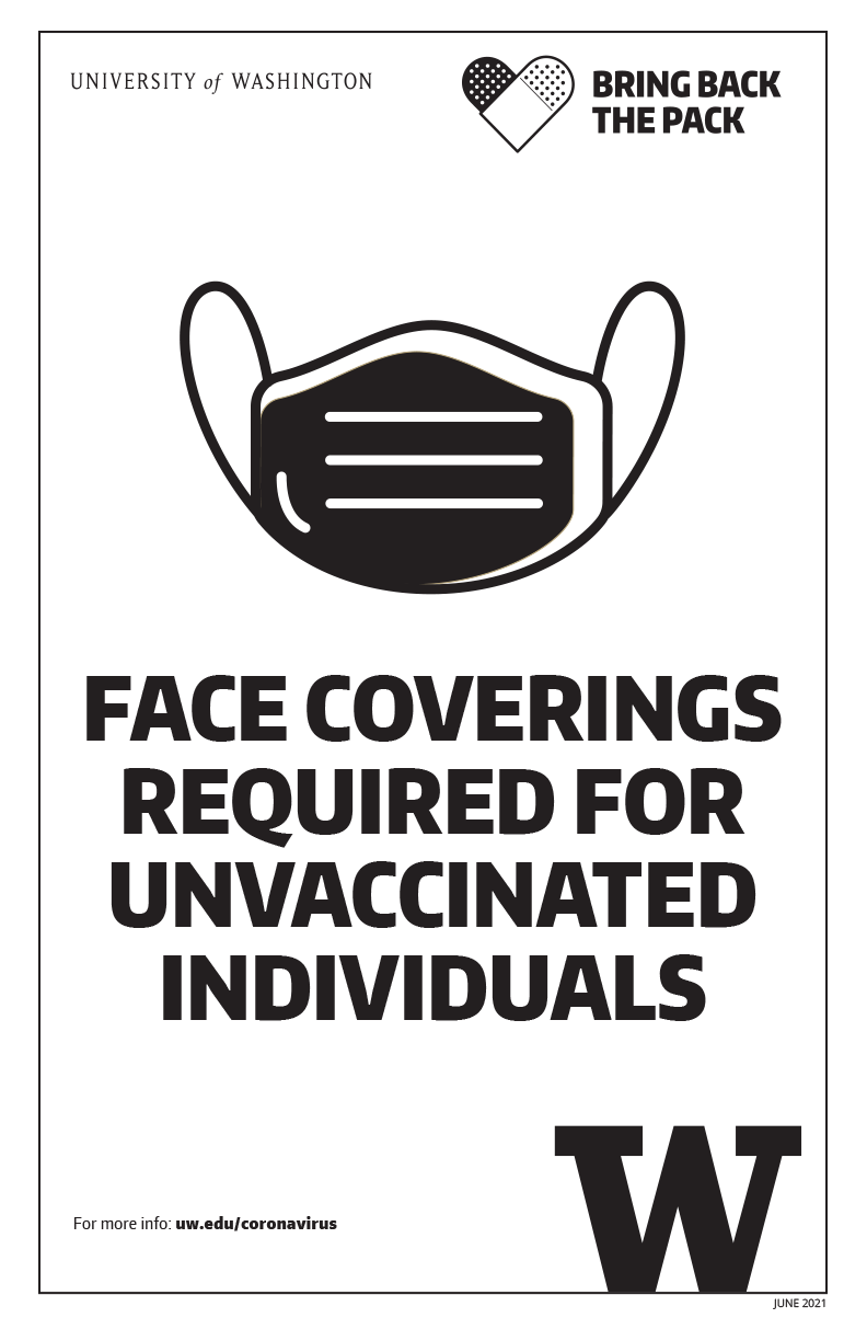 Image of 'Face coverings required for unvaccinated individuals' black and white poster