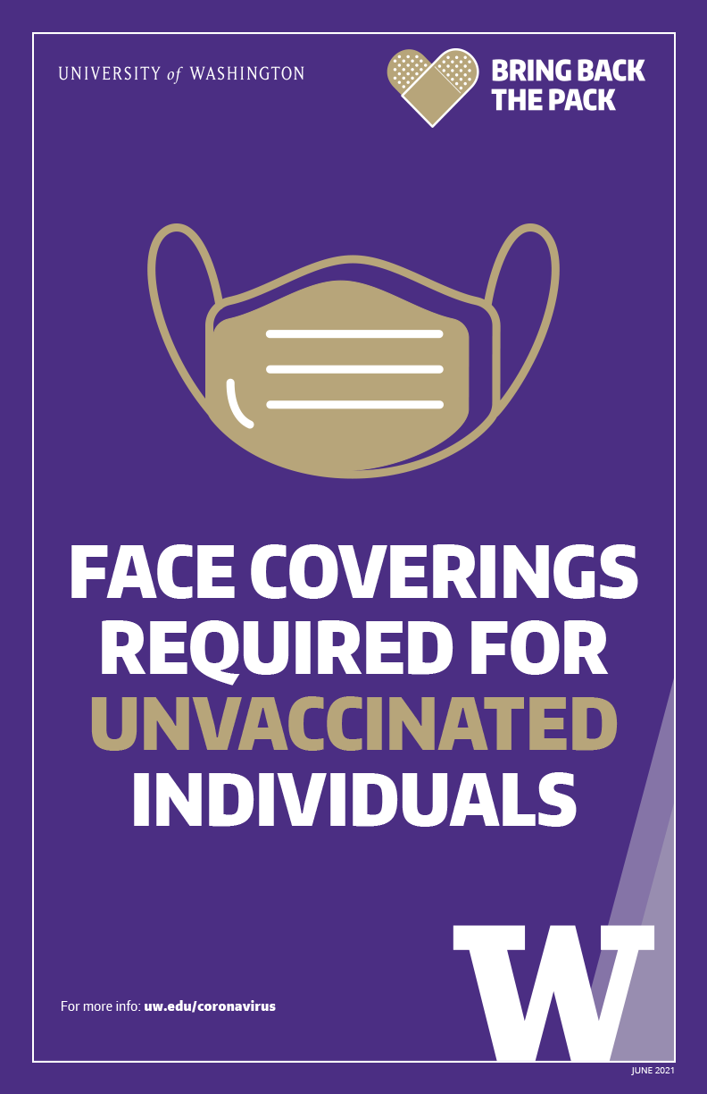 Image of 'Face coverings required for unvaccinated individuals' color poster