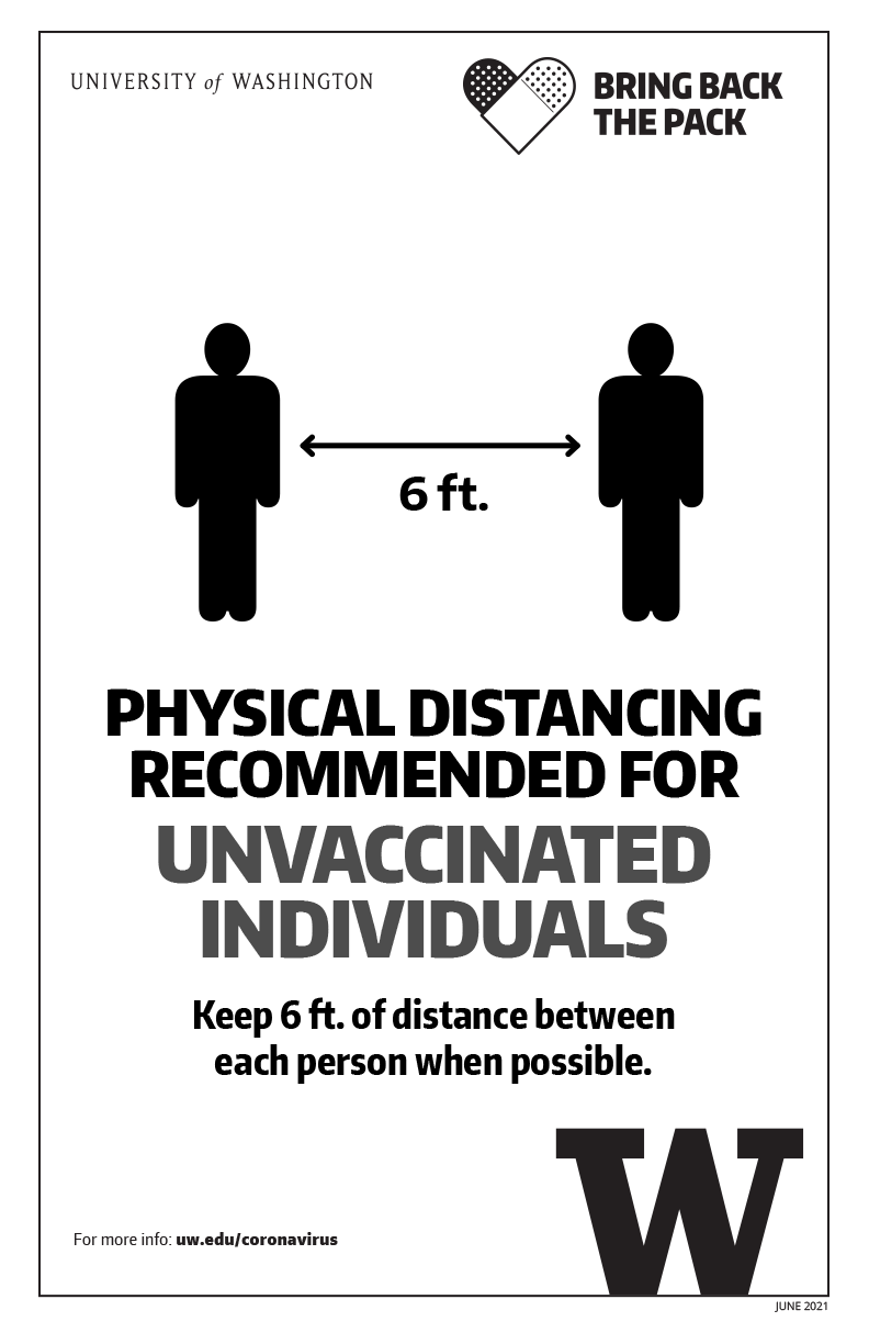 Image of 'Physical distancing recommended for unvaccinated individuals' black and white poster