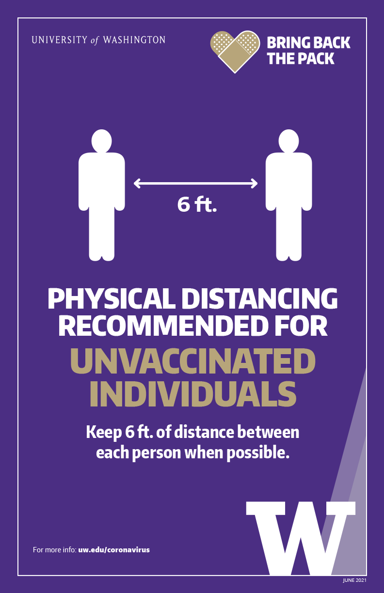 Image of 'Physical distancing recommended for unvaccinated individuals' color poster
