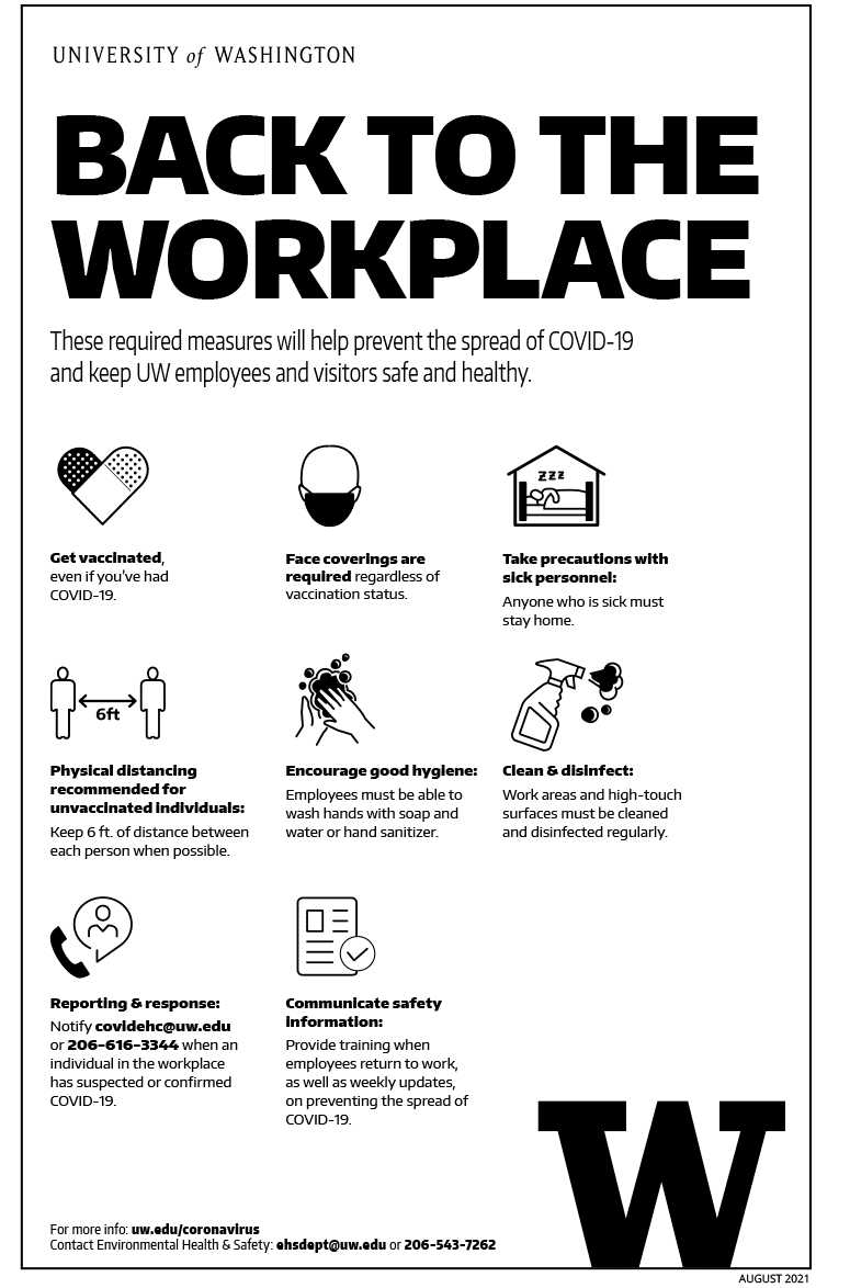 Image of 'Back to the workplace' black and white poster