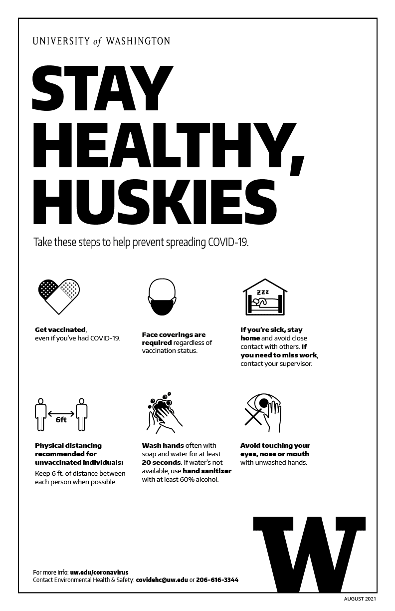 Image of 'Stay healthy, Huskies' black and white poster