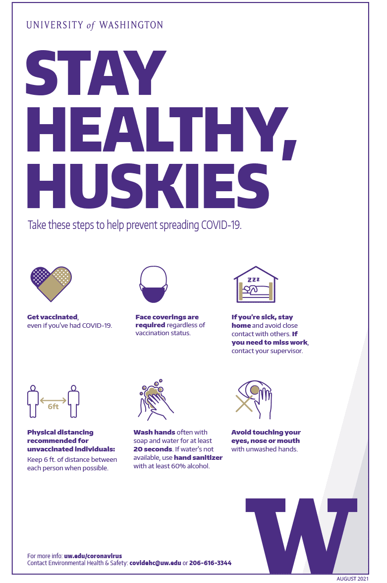 Image of 'Stay healthy, Huskies' color poster