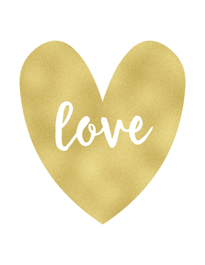 Free Gold Foil Textured Valentine\'s Day Printables