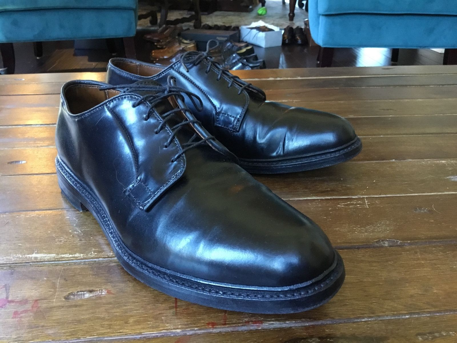 Allen Edmonds black shell cordovan Leeds
