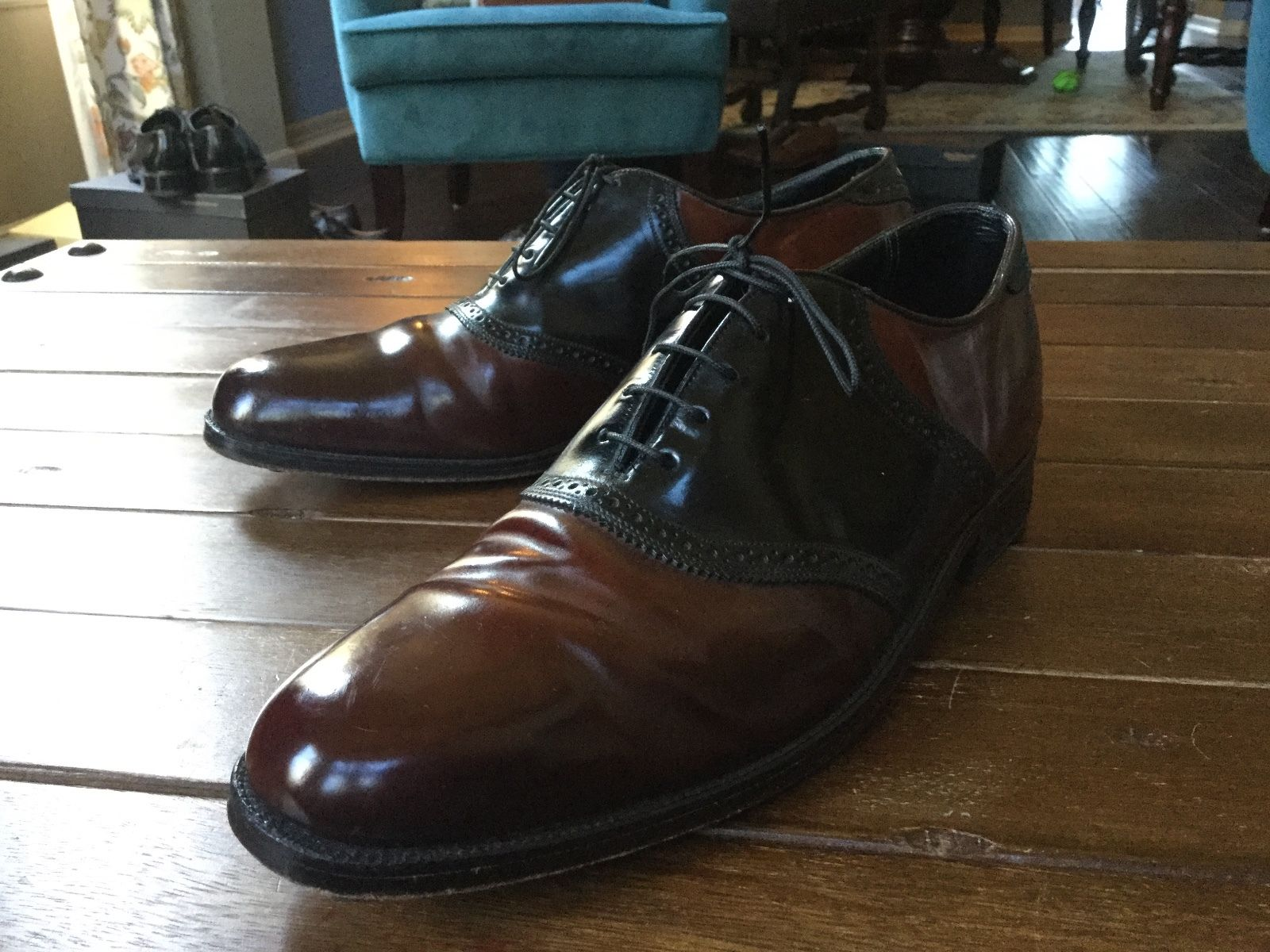 shell cordovan Florsheim Imperial saddle shoes