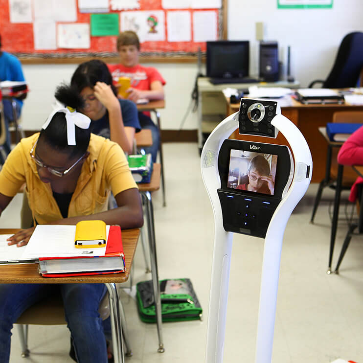 Filter Page Image: VGo robot in classroom with student on webcam